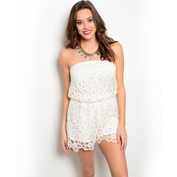 Shop the Trends Women's Strapless Allover Crochet Overlay Blouson Romper