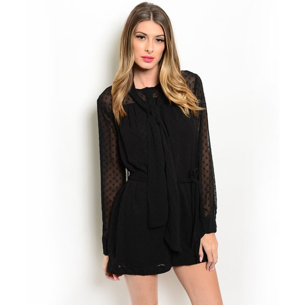 Shop the Trends Women's Swiss Dot Long Sleeve Romper With Self-Tie Closure On Neckline
