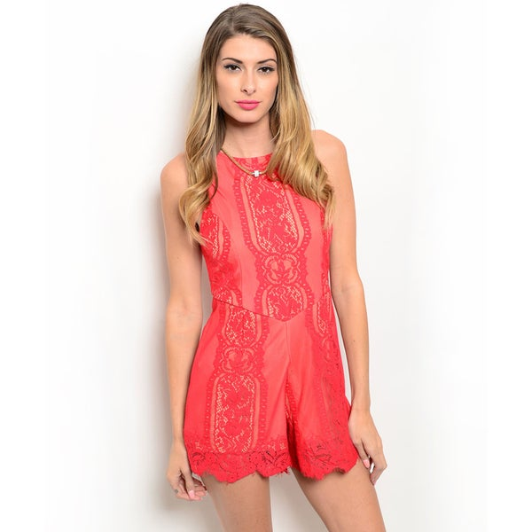 Shop the Trends Women's Sleeveless Scalloped Lace Romper