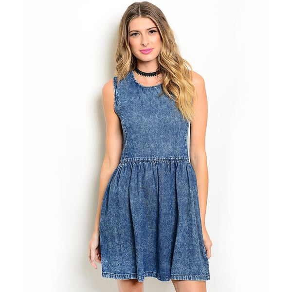 Shop the Trends Women's Sleeveless Acid Wash Denim Skater Dress