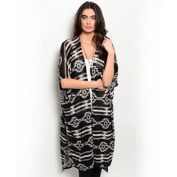 Shop the Trends Women's Short Sleeve Tribal Print Kimono Style Open Cardigan