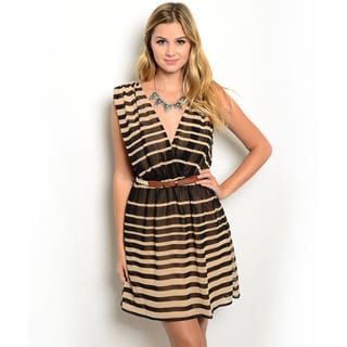 Shop the Trends Women's Sleeveless Allover Striped Print Chiffon Dress With Plunging V-Neckline