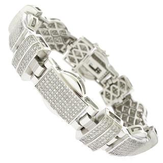 Rhodium-plated Sterling Silver Men's Cubic Zirconia 8.5-inch Bracelet