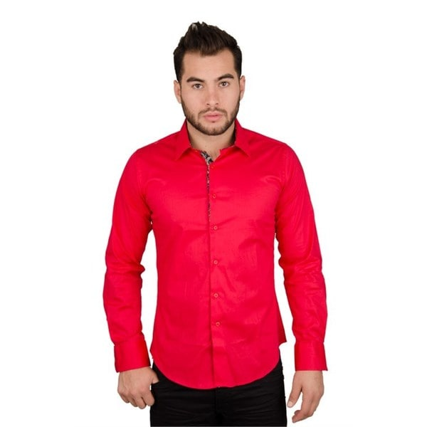 Men's Solid Casual Red Button-down Shirt