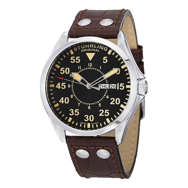Stuhrling Original Men's Aviator Swiss Quartz Brown Leather Strap Watch