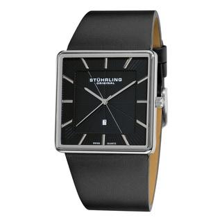 Stuhrling Original Men's Symphony Swiss Quartz Square Case Black Leather Strap Watch