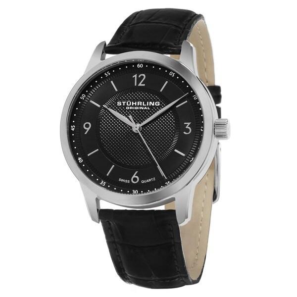 Stuhrling Original Men's Aviator Swiss Quartz Black Leather Strap Watch 17047035