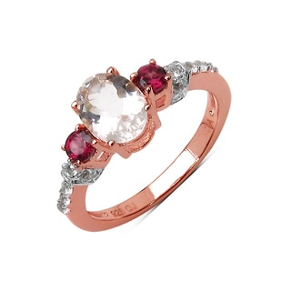 Malaika 14K Rose Gold Plated 1.72 Carat Genuine Morganite, Rhodolite and White Topaz .925 Sterling Silver Ring