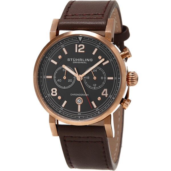 Stuhrling Original Men's Aviator Quartz Brown Leather Strap Watch