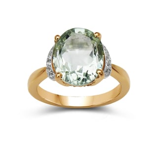 Malaika 14k Yellow Goldplated Silver Green Amethyst and White Topaz Ring
