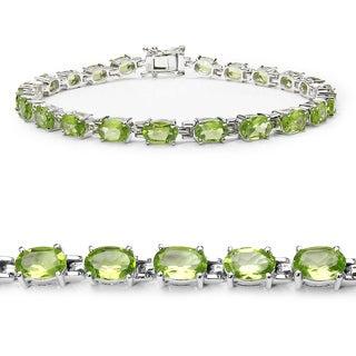 Malaika Sterling Silver Genuine Peridot Bracelet