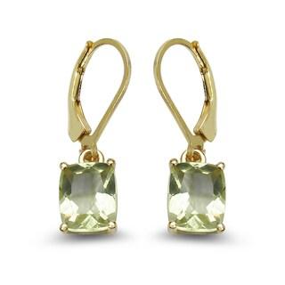 Malaika 14K Yellow Gold Plated 4.00 Carat Genuine Lemon Topaz .925 Sterling Silver Earrings