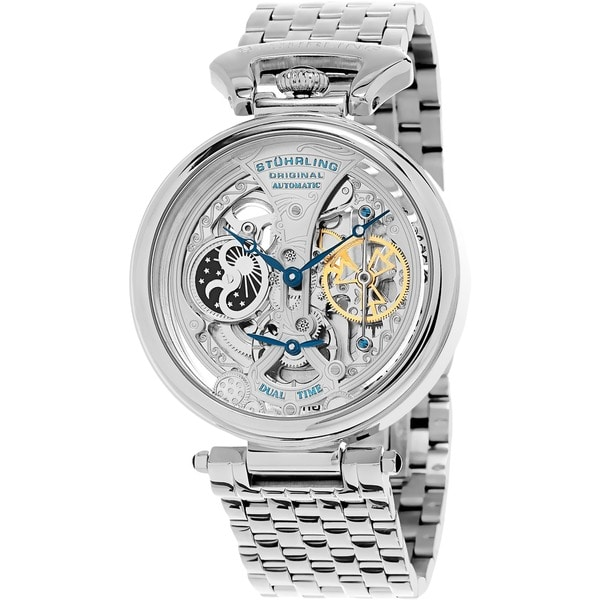 Stuhrling Original Men's Legacy Automatic Skeleton Stainless Steel Bracelet Watch