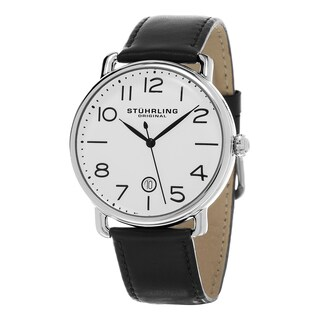 Stuhrling Original Men's Symphony Swiss Quartz Black Leather Strap Watch