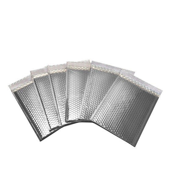 400 Metallic Glamour Bubble Mailers Envelopes Bag - 13.75 x 11 Silver
