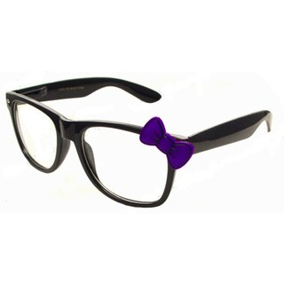 Black Wayfarer Glasses with Purple Bow Nerd Accessory