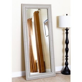 Abbyson Living Maxx Taupe Leather Nailhead Trim Floor Mirror
