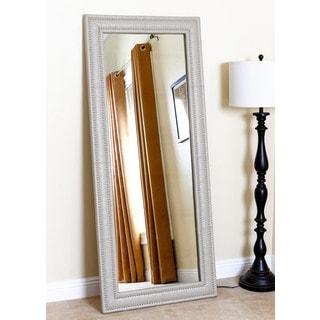 ABBYSON LIVING Maxx Taupe Leather Nailhead Trim Floor Mirror