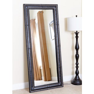 Abbyson Living Maxx Black Leather Nailhead Floor Mirror
