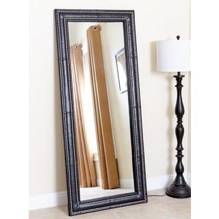 ABBYSON LIVING Maxx Black Leather Nailhead Floor Mirror