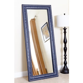 ABBYSON LIVING Maxx Navy Blue Leather Nailhead trim Floor Mirror