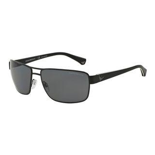 Emporio Armani Men's Black Metal Rectangle Polarized Sunglasses