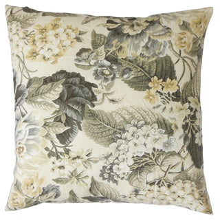 Kalonice Floral Down and Feather Filled 18 - inch 18-inch Throw Pillow