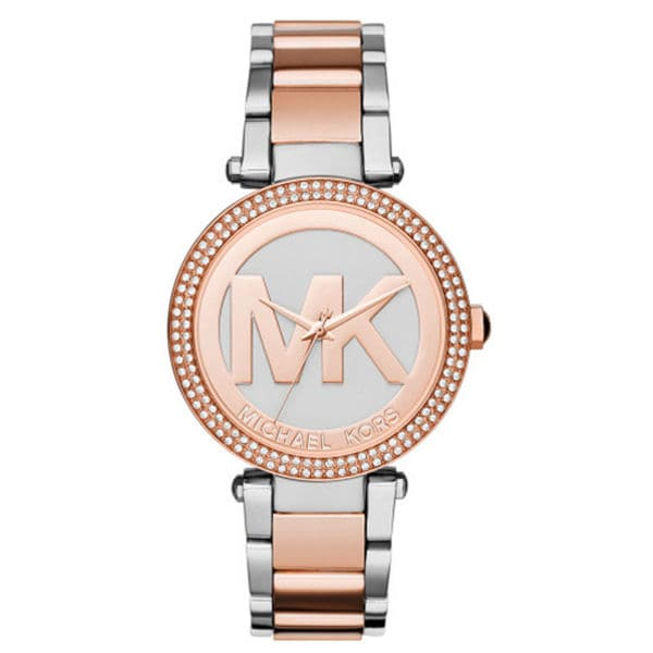 Michael Kors Women's MK6314 Parker Crystal Bezel Silver Logo Dial Two-Tone Stainless Steel Bracelet Watch