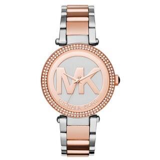 Michael Kors Women's MK6314 Parker Crystal Bezel Silver Logo Dial Two-Tone Stainless Steel Bracelet Watch