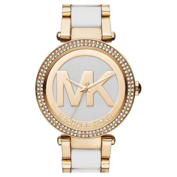 Michael Kors Women's MK6313 Parker Crystal Bezel White Logo Dial Two-Tone Bracelet Watch