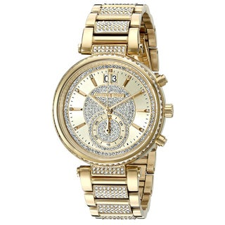 Michael Kors Women's MK6308 Sawyer Chronograph Gold Crystal Pave Dial Gold-Tone Stainless Steel Bracelet Watch