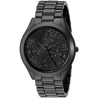 Michael Kors Women's MK3449 Slim Runway Black Crystal Pave Dial Black Ceramic Bracelet Watch