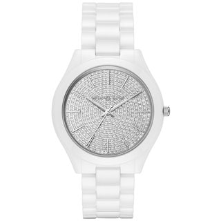 Michael Kors Women's MK3448 Slim Runway Crystal Pave Dial White Ceramic Bracelet Watch