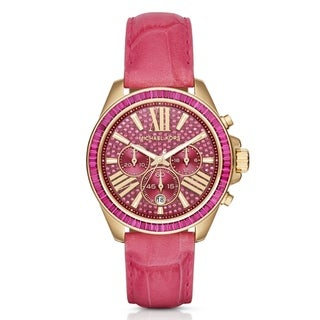 Michael Kors Women's MK2449 Wren Chronograph Pink Crystal Pave Dial Pink Leather Watch