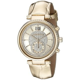 Michael Kors Women's MK2444 Sawyer Chronograph Crystal Pave Gold Dial Gold-Tone Leather Watch