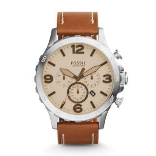 Fossil Men's JR1503 Nate Chronograph Beige Dial Brown Leather Watch