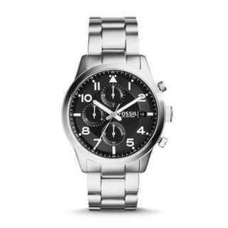 Fossil Men's FS5137 Daily Chronograph Black Dial Stainless Steel Bracelet Watch
