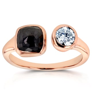 Annello Two Collection 14k Rose Gold 2 1/4ct TDW Black and White Bezel Diamond 2-Stone Wrap Around Ring (H-I, I1-I2)