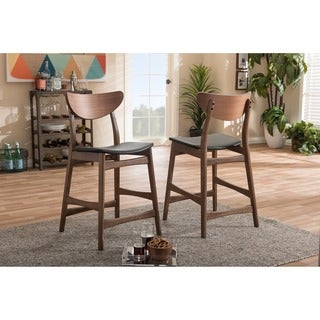 Baxton Studio Latina Mid-century Retro Modern Scandinavian Style Black Faux Leather Upholstered Walnut Finish Counter Stool Set