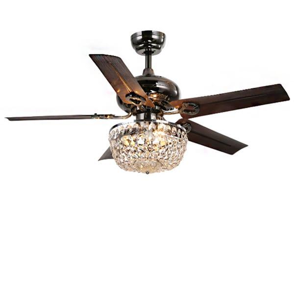 Angel 3-light Crystal 43-inch Bronze Chandelier Ceiling Fan