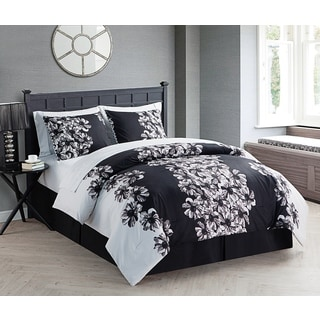 VCNY Valerie Black and White 8 Piece Bed in a Bag with Sheet Set