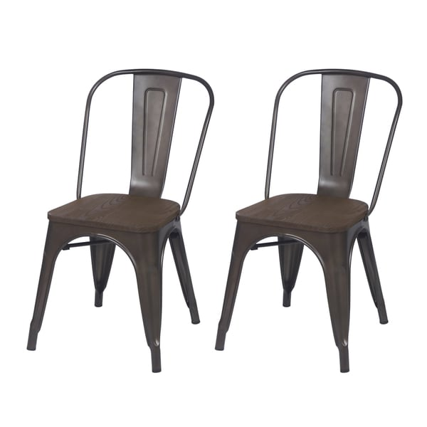 Adeco Metal Dining Chair with Wood Seat (Set of Two)