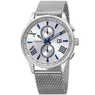 Akribos XXIV Men's Swiss Quartz Multifunction Stainless Steel Mesh Silver-Tone Bracelet Watch - silver
