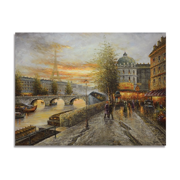 'Paris Cityscape' 36x48 Impressionist Giclee Canvas Wall Art