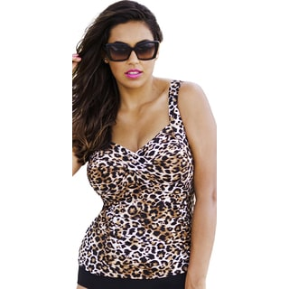 Tropiculture Women's True Animal Twist-Front Swim Top