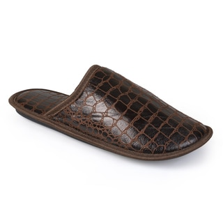 Vance Co. Men's Backless Python Print Slippers