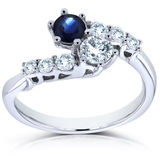 Annello Two Collection 14k White Gold 1ct TCW Sapphire and Diamond 2-Stone Prong Set Curved Ring (H-I, I1-I2)