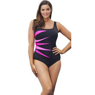 Longitude Women's Berry Colorblock Tank Swimsuit