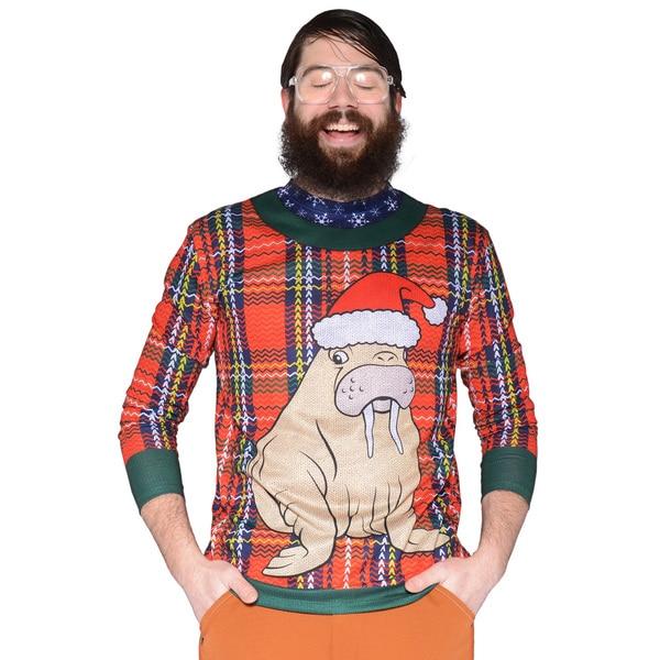 Faux Real Men's Plaid Walrus Sweater T-Shirt