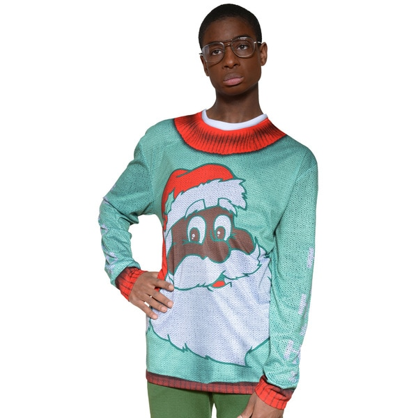 Faux Real Men's Black Santa Sweater T-Shirt